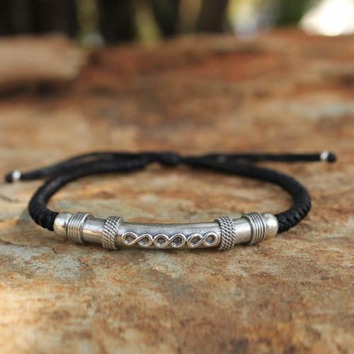Thai Hill Tribe Sterling Silver Bracelet 'Infinite Legend in Black'