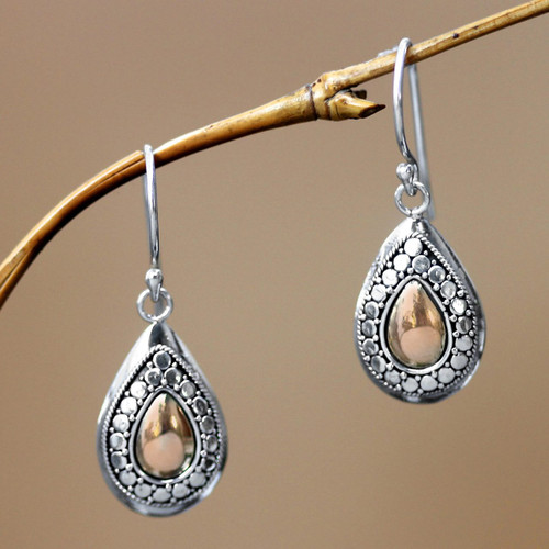 Gold Plated and Sterling Silver Dangle Earrings 'April Sun'