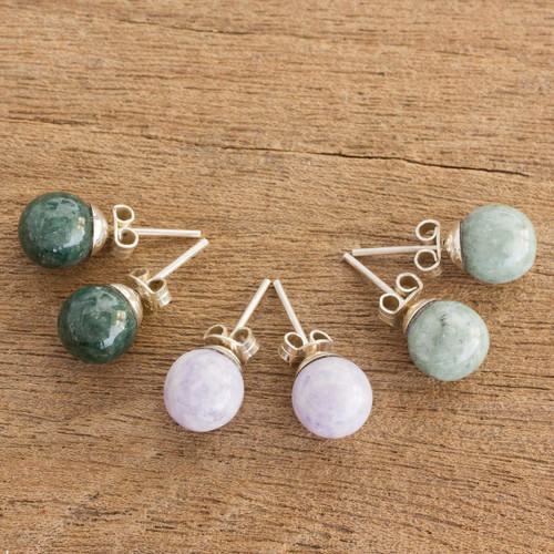 Handmade Sterling Silver Jade Stud Earrings (Set of 3) 'Maya Moons'