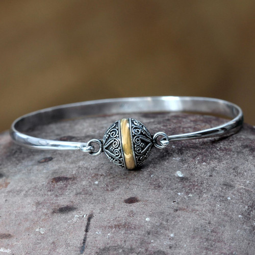 Hand Crafted Sterling Silver and 18k Gold Plated Bangle 'Lunar Orbit'