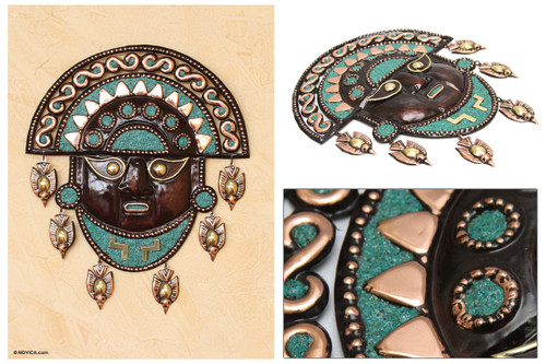 Handcrafted Archaeological Copper Bronze Tumi Mask 'Mighty Moche'