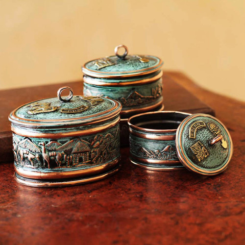 Artisan Crafted Copper and Bronze Decorative Boxes (Set o 'Andean Life'