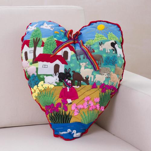 Handmade Folk Art Heart Applique Throw Pillow 'I Love Our Andean Farm'