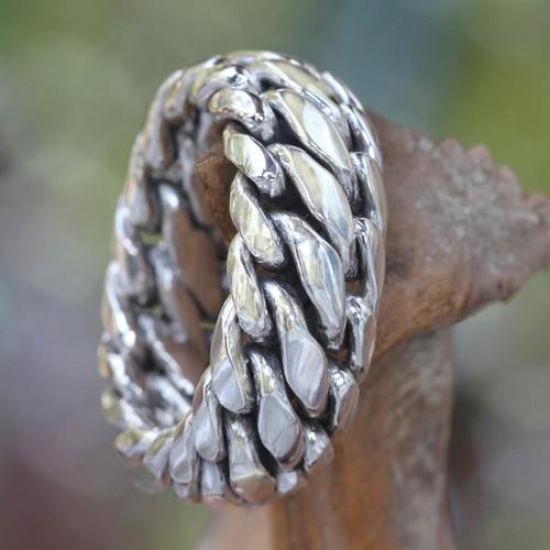 Men's Sterling Silver Band Ring 'Sanca Kembang Python'