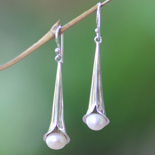 Sterling Silver and Pearl Dangle Earrings 'Trumpet Flower'