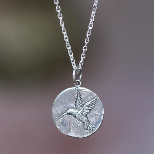 Hand Crafted Sterling Silver Pendant Necklace 'Hummingbird Magic'