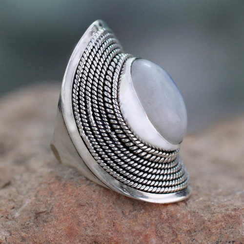 Sterling Silver Rainbow Moonstone Ring from India 'Jaipur Mist'