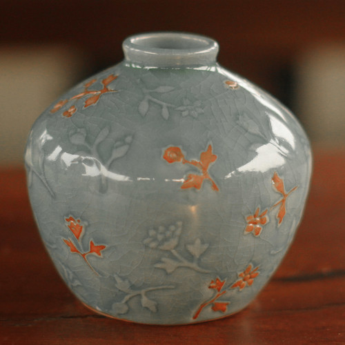 Floral Celadon Ceramic Vase 'Autumn in My Heart'