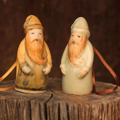 Celadon ceramic Christmas ornaments (Pair) 'Thai Santa Claus'