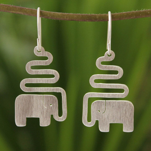 Women's Sterling Silver Dangle Earrings 'Trumpeting Elephant'