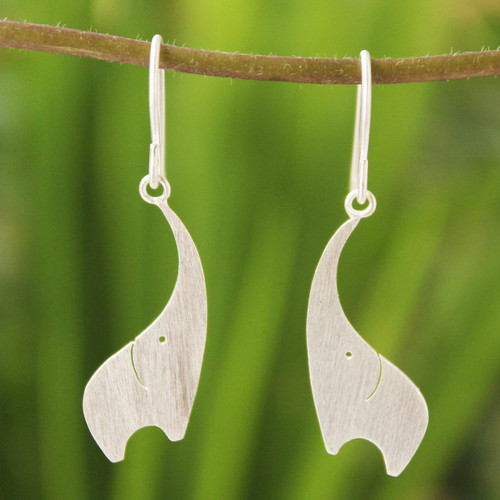 Artisan Crafted Sterling Silver Dangle Earrings 'Elephant Greeting'