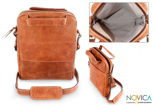 Tan Leather Tablet Case  'Honey Cyberspace'