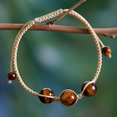 Hand Made Cotton Shambhala-style Tigers Eye Bracelet 'Lucky Tranquility'