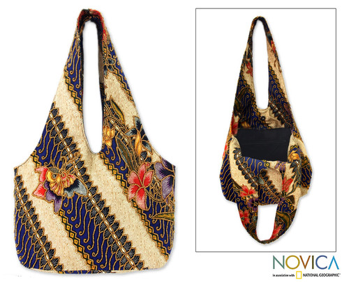 Unique Batik Beaded Cotton Shoulder Bag 'Jogjakarta Legacy'