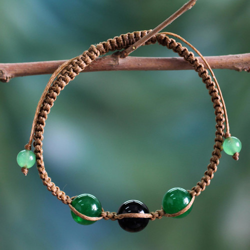 Green and Black Onyx Hand-braided Shambhala-style Bracelet 'Protective Tranquility'