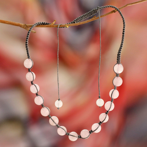 Rose Quartz Hand Knotted Cotton Shambhala-style Necklace 'Oneness'