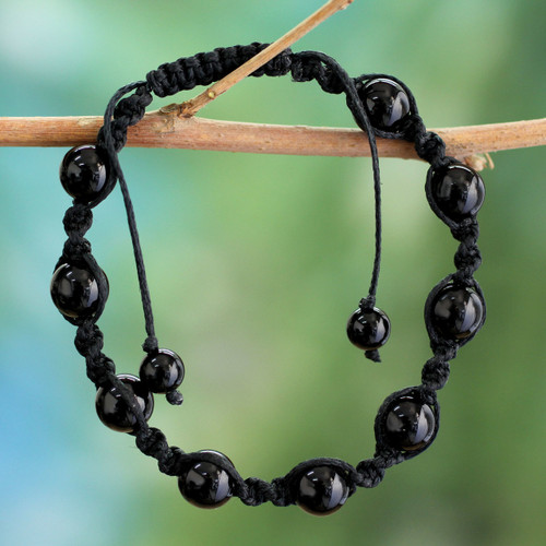 Cotton Beaded Onyx Bracelet Protection Jewelry 'Blissful Protection'