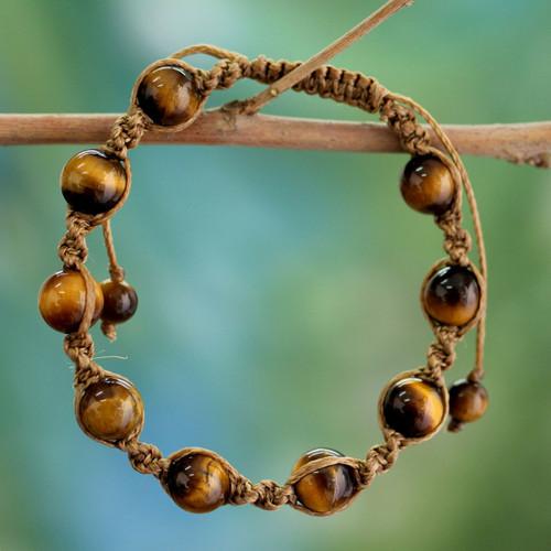 Artisan Crafted Cotton Shambhala-style Tigers Eye Bracelet 'Blissful Insight'