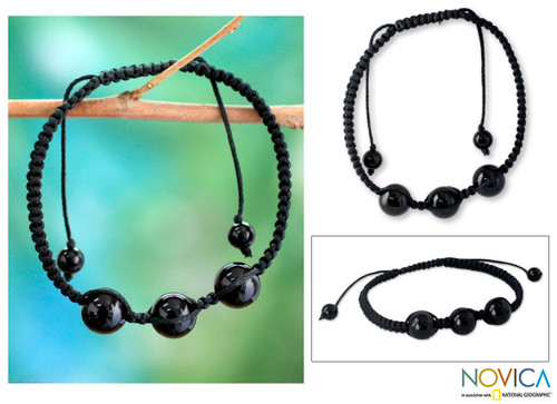 Protection Jewelry Cotton Beaded Onyx Bracelet 'Tranquil Protection II'