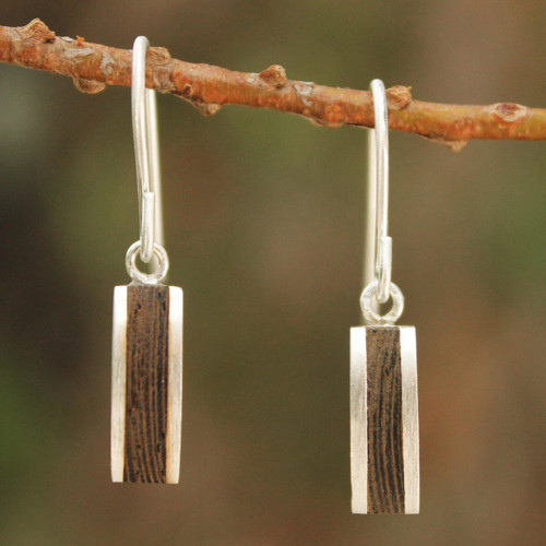 Unique Wood Dangle Earrings 'Thai Wilderness'