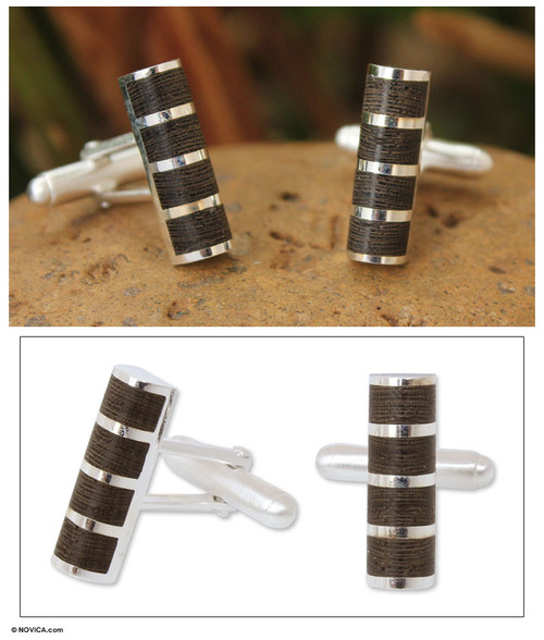 Sterling silver cufflinks 'Forest Hero'
