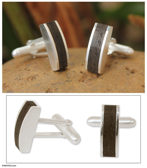 Sterling silver cufflinks 'Naturally Rugged'
