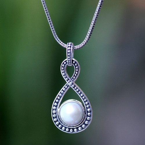 Bridal Pearl and Sterling Silver Pendant Necklace 'Infinite White'