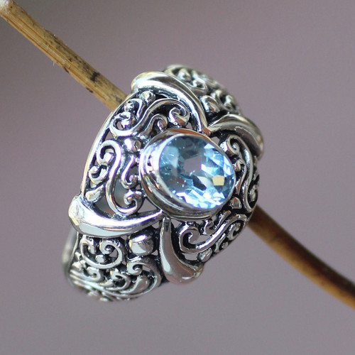 Hand Made Sterling Silver and Blue Topaz Ring 'Heavenly Garden'