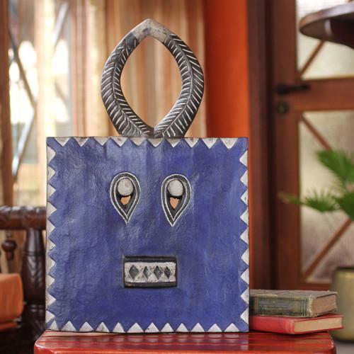 Handcrafted Ivory Coast Wood Mask 'Baule Indigo Moon'