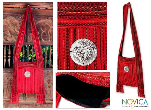 Handmade Red Shoulder Bag 'Crimson Lands'
