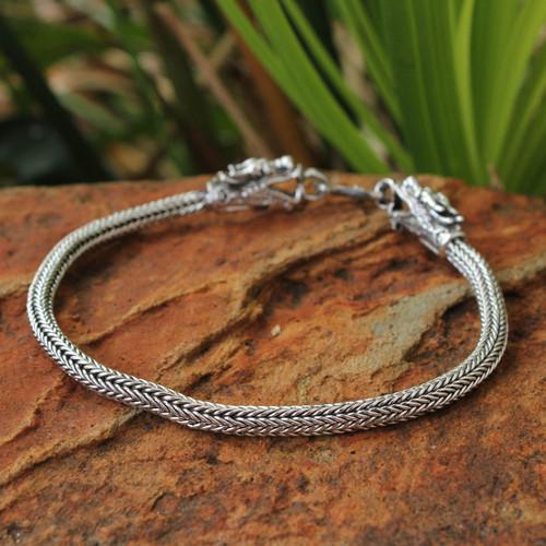 Men's Thai Sterling Silver Dragon Bracelet 'Naga Allies'