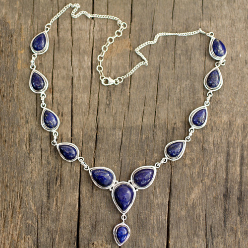 Lapis Lazuli and Sterling Silver Necklace from India 'Aura of Beauty'
