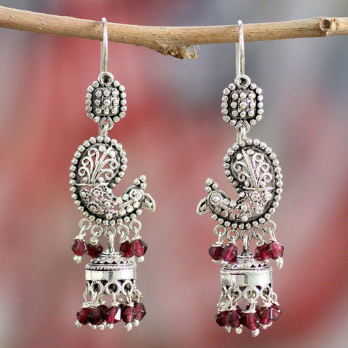 Sterling Silver and Garnet Chandelier Earrings from India 'Paisley Peacock'