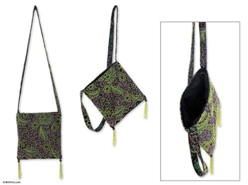 Handmade Batik Beaded Shoulder Bag  'Midnight Java'