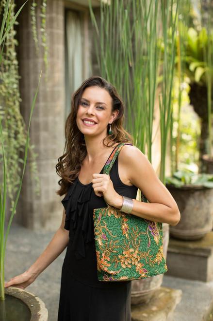 Indonesian Batik and Bead Cotton Tote Bag 'Princess Art'