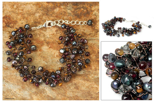 Hand Crafted Pearl and Garnet Bracelet 'Stormy Weather'