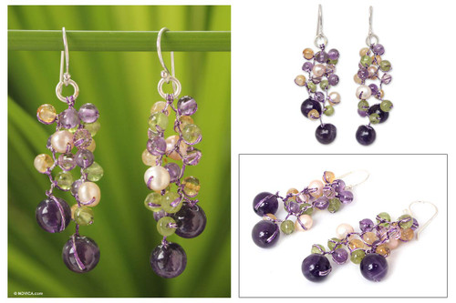 Artisan Crafted Amethyst Earrings 'Mystic Passion'
