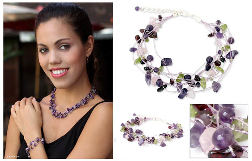 Artisan Crafted Beaded Amethyst Bracelet 'Lilac Mousse'