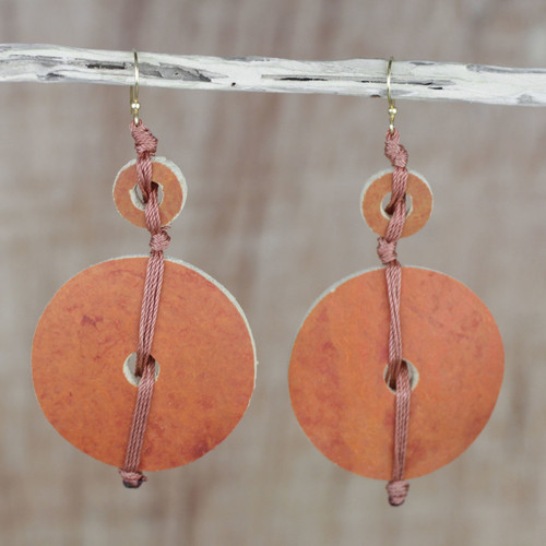 Dried Calabash Dangle Earrings 'Tropical Fun'