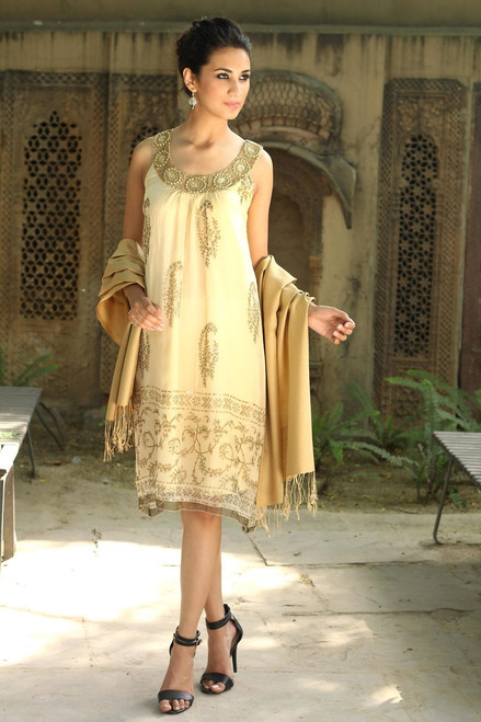 Beige Beaded A-Line Golden Dress with Beadwork 'Gujarat Glitz'