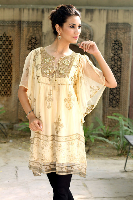 Embellished Lined Chiffon Tunic Top with Block Prints 'Jaipur Glitz'