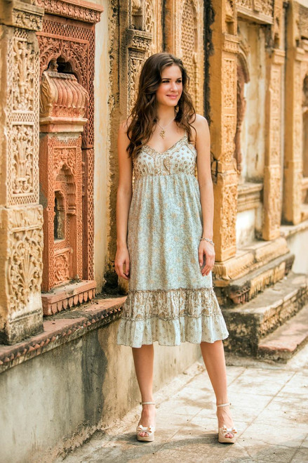 Women's Cotton Floral Sundress with Beaded Accents 'Summer in Jaipur'