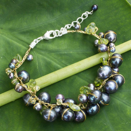 Hand Made Peridot and Pearl Bracelet from Thailand 'Mist Queen'