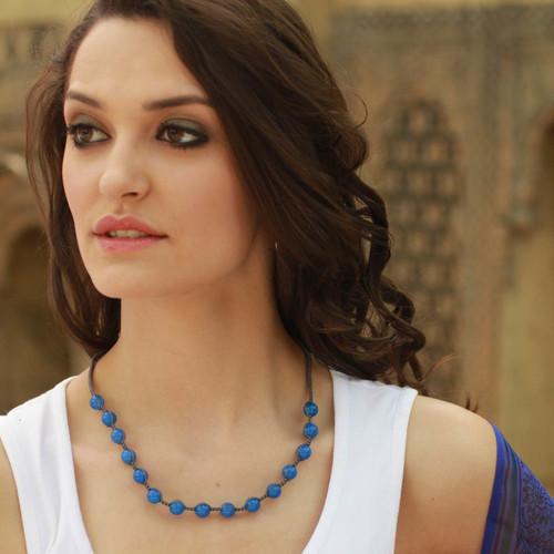 Cotton and Chalcedony Beaded Shambhala-style Necklace 'Blissful Harmony'