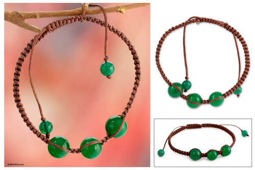 Handcrafted Cotton Shambhala-style Green Onyx Bracelet 'Protection'