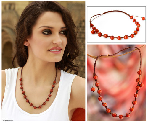 Shambhala-style Jewelry Jasper and Cotton Necklace 'Blissful Courage'