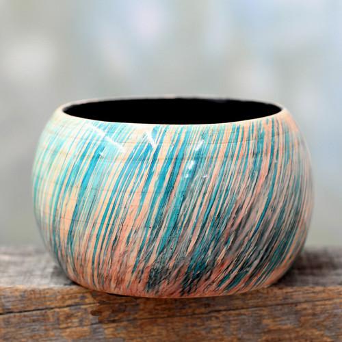 Artisan Crafted Wood Bangle Bracelet 'Peach Breeze'