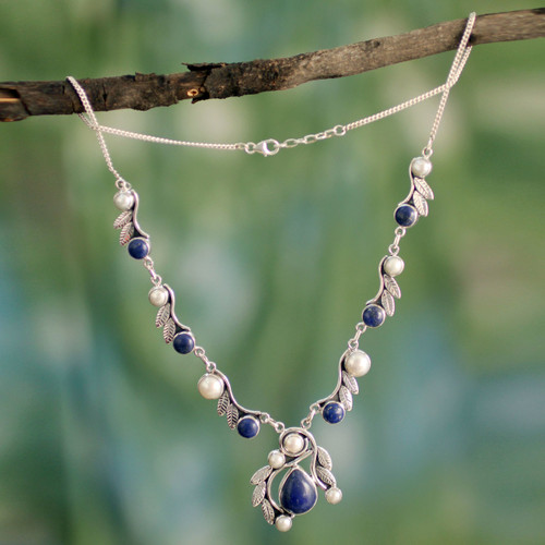 Pearl Lapis Lazuli and Sterling Silver Necklace from India 'Tropical Fruit'