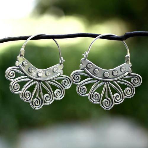 Handcrafted Taxco Silver Hoop Earrings 'Spiral Sierra'