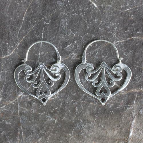 Heart Shaped Sterling Silver Hoop Earrings 'Taxco Romance'